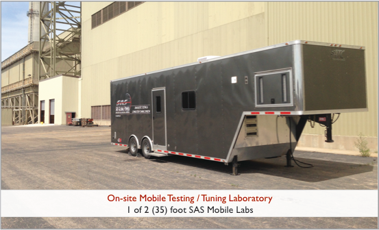 The SAS MATS Compliance Division has (2) 35 foot and (1) 16 foot mobile testing / tuning laboratories. These Mobile Labs are completely self contained and climate controlled for optimum testing conditions. 